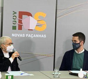 Secretária da Cultura, Beatriz Araújo, junto ao governador Eduardo Leite. Foto: Solange Brum, Ascom/Sedac.